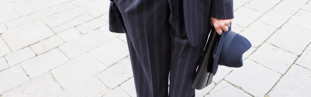 the pinstriped pantsuit
