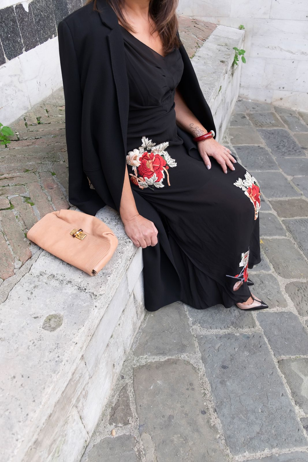 Red flowers on my black dress