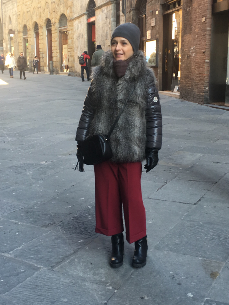 street style down jacket fur
